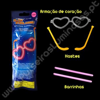 Óculos Fluorescentes de Coração Individuais (1 ud)