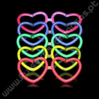 Óculos Fluorescentes Coração Granel (50 uds)